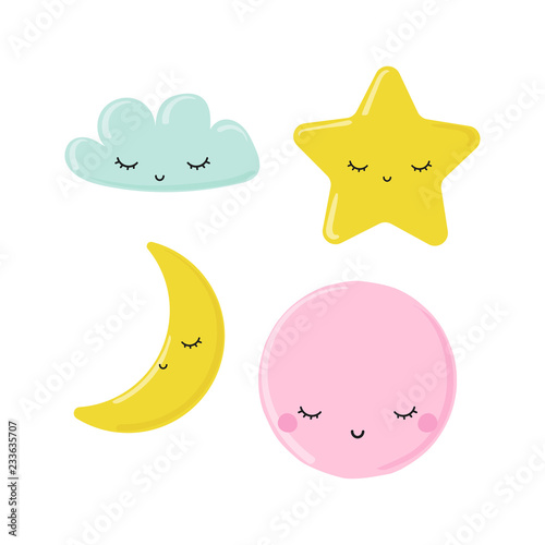 Set of cute moon, star and cloud. Kids pastel graphic. Vector hand drawn illustration.