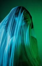 Ghostly Green Goth Girl Under Fabric