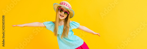 Fotografia, Obraz  Girl with red hair on a yellow background