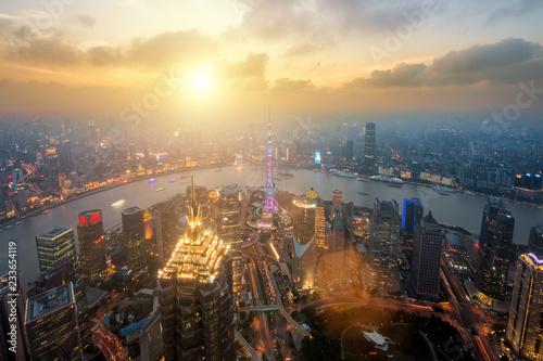 Foto op Aluminium Shanghai Shanghai skyline city scape, Shanghai luajiazui finance and business district trade zone skyline, Shanghai China. Asia. Day to Night.