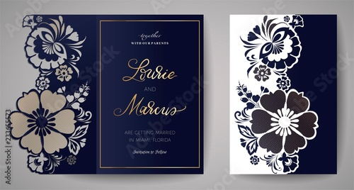 Fototapety, obrazy: Wedding Floral Invitation. Template for laser cutting. Vector illustration.