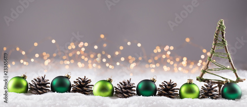 Spoed Foto op Canvas Lavendel Weihnachten - Winterlandschaft mit Dekoration