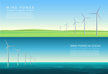 Energy Horizontal Concept Backgrounds With Wind Turbines In Green Meadow Field And Ocean Sea.