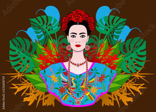 Portrait of the young beautiful Mexican woman with a traditional hairstyle Wallpaper Mural