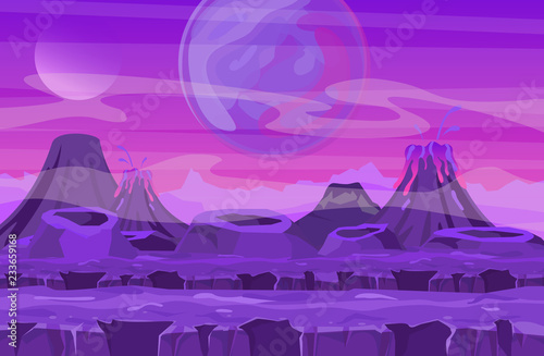 La pose en embrasure Prune Vector illustration of space landscape with pink planet view. Mountains and volcanos, other planets in the sky. Fantastic alien landscape in red colors, sci-fi background for UI Game in flat cartoon