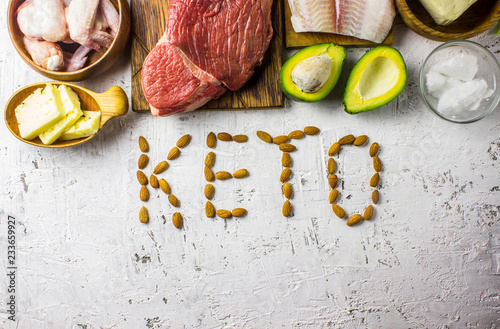 Fotobehang Assortiment Keto diet concept. Ketogenic diet food. Balanced low-carb food background.
