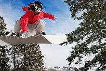 Low Angle View Of Man Snowboarding Against Snow Covered Trees