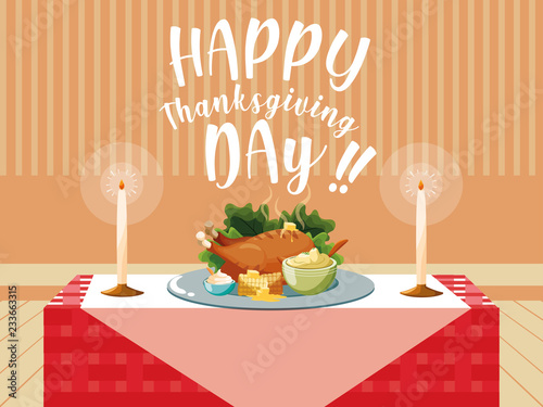 turkey dinner of thanksgiving day in table Poster Mural XXL