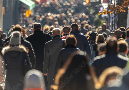 Crowd of people walking street Canvas Print