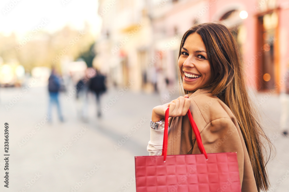 Fototapeta Girl at shopping