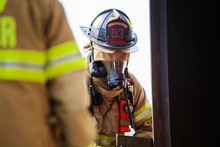 Close-up Of Firefighters With ...