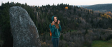 Smiling Woman Hiker With Backp...