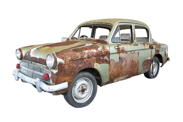 Front of old rusty classic car isolated on white background.Old rusty ancient car isolated