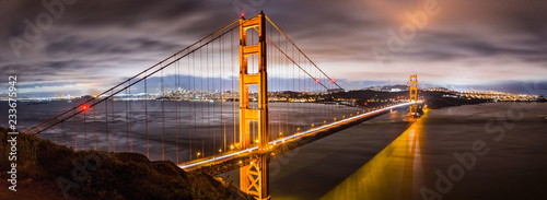 Panoramic night view of Golden Gate Bridge, San Francisco downtown area in the b Canvas Print