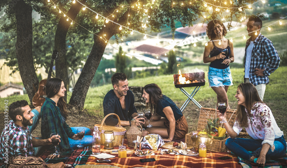 Fototapety, obrazy: Happy friends having fun at vineyard after sunset - Young people millennial camping at open air picnic under bulb lights - Youth friendship concept with young people drinking wine at barbecue party