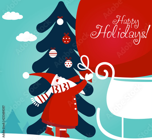 d487702f7ddab Funny Santa Claus with a bag full of presents on sledge. Cute Christmas and  New Year vector illustration. Lovely winter holiday background and concept .