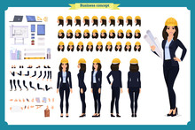 Woman Architect In Business Suit And Protective Helmet. Character Creation Set. Full Length, Different Views, Emotions And Gestures.