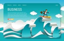 Vector Paper Cut Business Landing Page Website Template