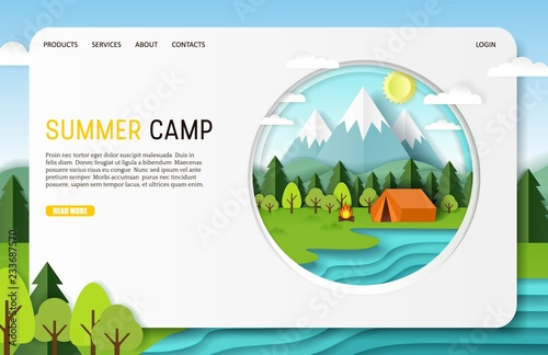 Cuadros en Lienzo Vector paper cut summer camp landing page website template