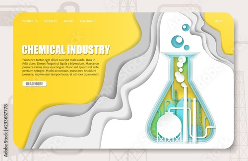 Stampa su Tela Vector paper cut chemical industry landing page website template