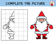 Complete The Picture Of Santa Claus. Copy The Picture. Coloring Book. Educational Game For Children. Cartoon Vector Illustration