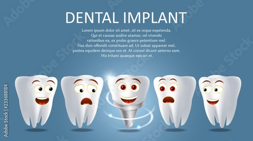 Dental implant vector poster or banner template Canvas Print