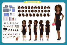 Black Girl In Evening Dress Character Creation Set. Party Woman In Black Trendy Luxury Gown. Full Length, Different Views, Gestures. Build Your Own Design.