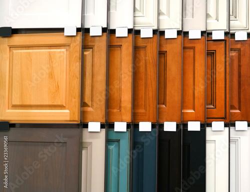 Fototapeta wood cabinet door samples in market in a row