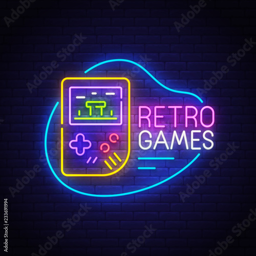 Retro Games neon sign, bright signboard, light banner Canvas Print