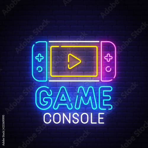 Game console neon sign, bright signboard, light banner. Gamer logo, emblem. Vector illustration