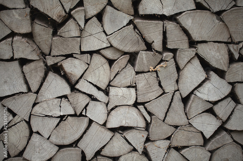 Fotoposter Brandhout textuur chipped birch wood for the stove, rural life,background