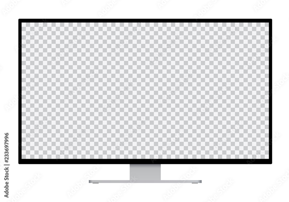 Fototapeta Realistic illustration of black computer monitor with silver stand and blank transparent isolated screen with space for your text or image - isolated on white background