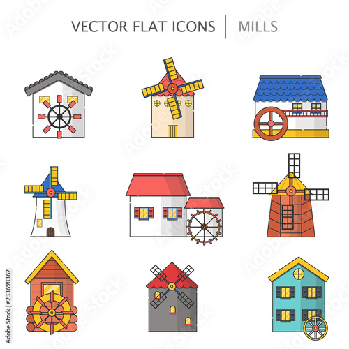 Vector illustration with set of cartoon flat windmills and watermills of different types isolated on white background Fototapeta