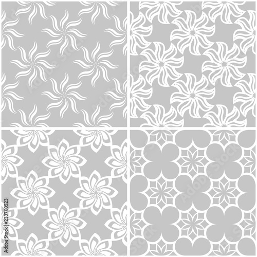 Floral patterns. Set of gray and white seamless backgrounds