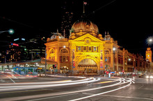 Flinders Street Station At Nig...