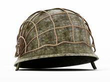 World War II Helmet Isolated On White Background. 3D Illustration