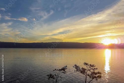 Fényképezés  Beautiful yellow sunset.