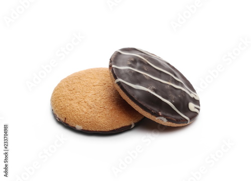 Chocolate cookies, biscuits isolated on white background - Buy this