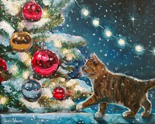 Christmas Oil Painting For Cards And Greetings. The Little Kitten Under The Tree Looks At Glass Balls. The Christmas Tree Is Decorated With Garland And Glows In The Dark. Festive Evening Mood