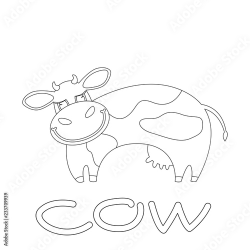 Tuinposter smiling cow . cartoon vector illustration .