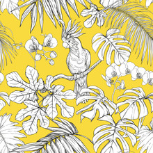 Seamless Pattern, Background. With Tropical Plants