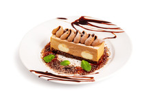 Plate With Sweet Layered Cake ...