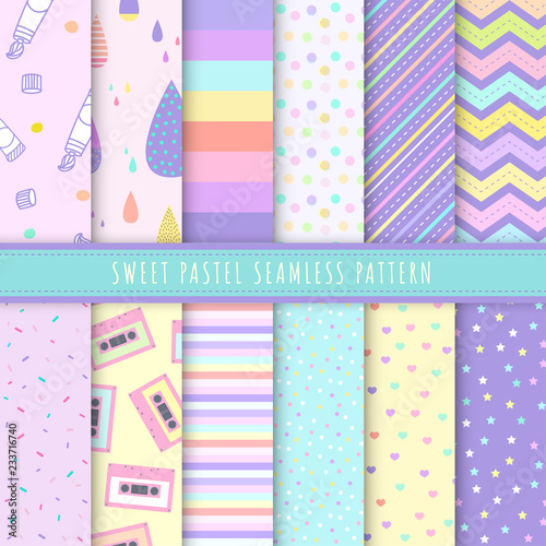 Photo  Sweet Pastel seamless pattern collection