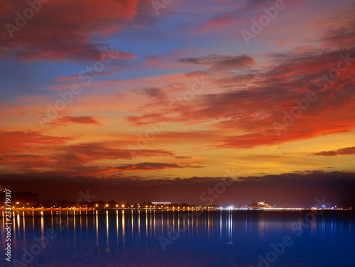 Denia sunset skyline in Las Rotas Alicante