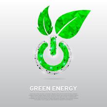 Green ECO Energy Power Button ...