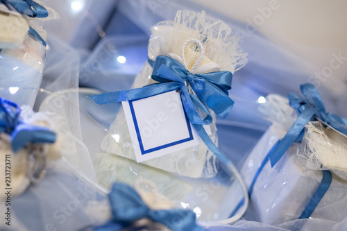 Wedding favor decorated with lace and blue ribbon with message in a bottle with Canvas Print