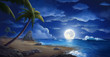 The Moon Night And Sea. Fiction. Concept Art. Realistic Illustration. Video Game Digital CG Artwork. Nature Scenery.