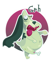 Mad Zombie Green Basset Hound Dog Goes To Eat Brains. Postcard, Sticker.