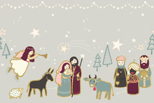 Christmas Nativity Scene Illus...