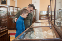 A Teenager Boy  And His Father Examines Exhibits At The Museum Of Natural History. A Father And A Son  Exploring Exhibits In The Geological Museum.